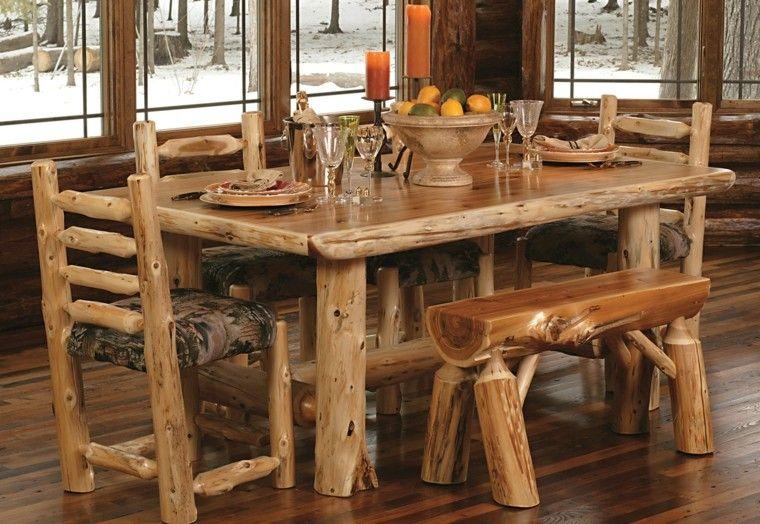 mesa frutero centro rustico comedor troncos