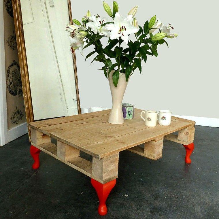 mesa jarron flores patas rojas