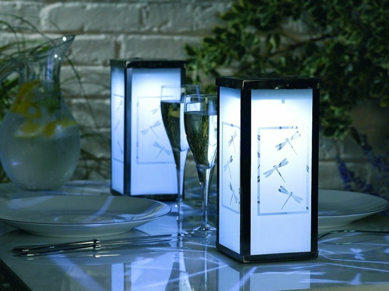 mesa lampara diseño linterna metalicas decoracion