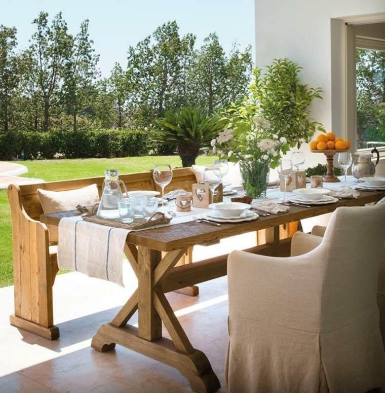 mesa madera centro frutas muebles flores
