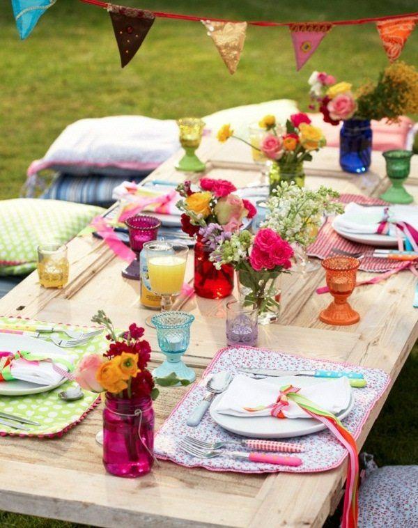 mesa madera estilo boho colores
