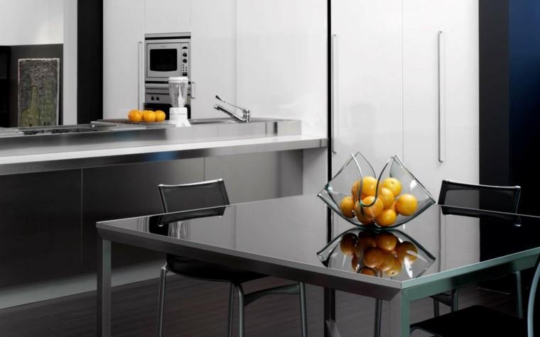 mesa metal cristal cocina naranjas