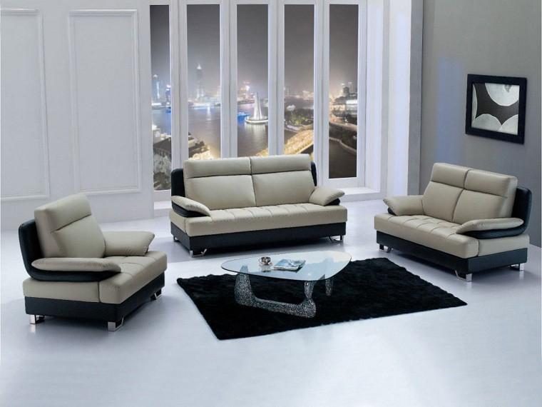 mesa moderna sofa cuadro ventana ciudad