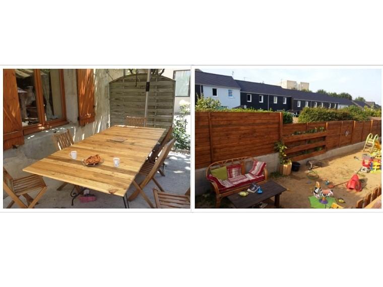 mesa muro madera juegos patio jardin