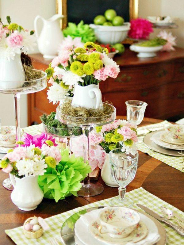 mesa estilo shabby muchos colores