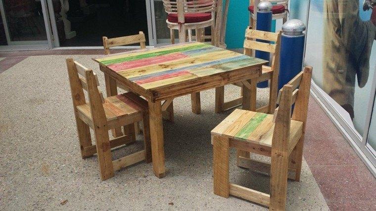 Muebles hechos con palets 100 ideas para el hogar for Mesa y sillas ninos