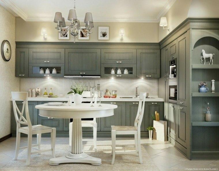 cool mesita clasica blanca cocina gris with cocinas clasicas blancas - Cocinas Clasicas Blancas
