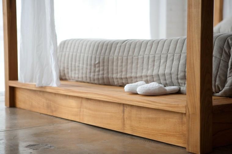 moderna cama madera plataforma dosel