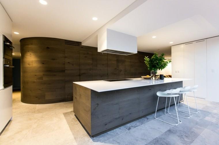 moderna plantas madera led cocina