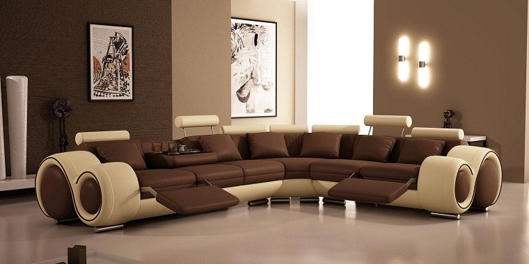 moderno amplio sofa luces calido