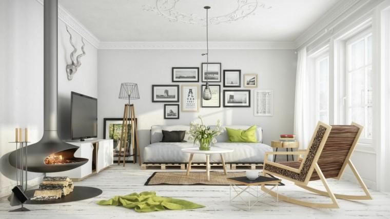 moderno interior salon estilo escandinavo chimenea ideas