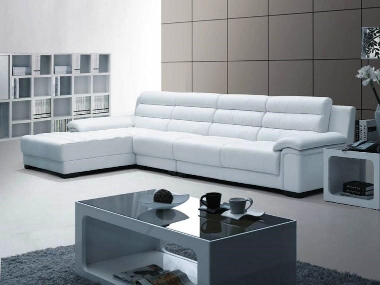 Muebles salon modernos funcionales y a tu medida - Sofa piel blanco ...