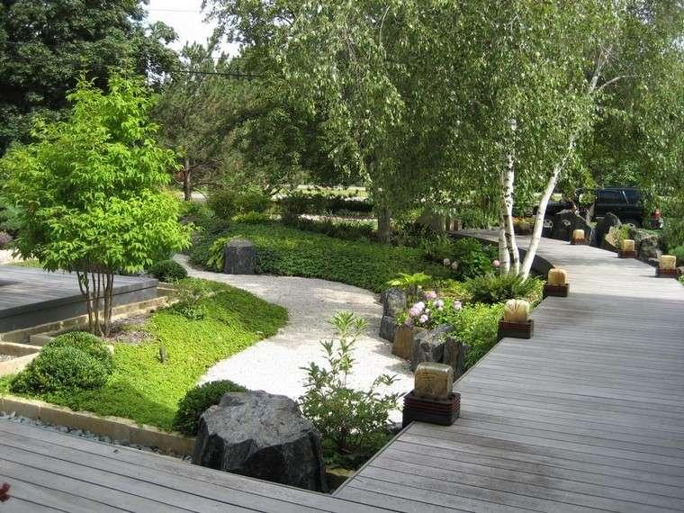 moderno zen camino puente relajante jardin