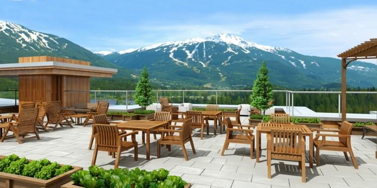montaña muebles madera nieve teca exterior