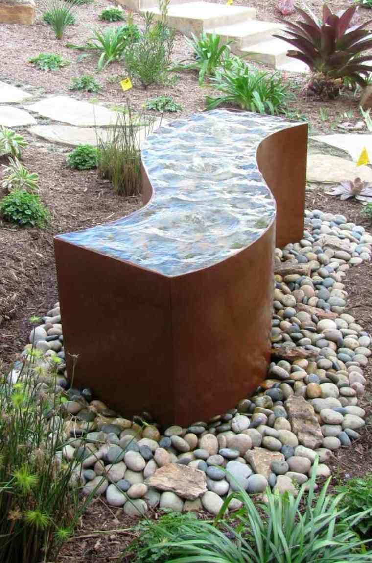 mueble jardin banco guijarros metal ideas