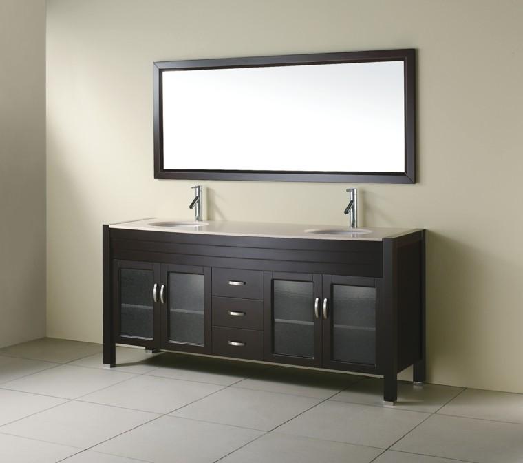 mueble lavabo doble laminado madera