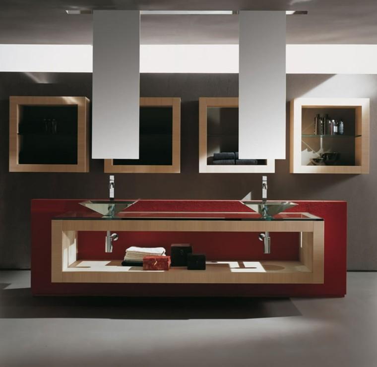 mueble lavabo estilo moderno rojo
