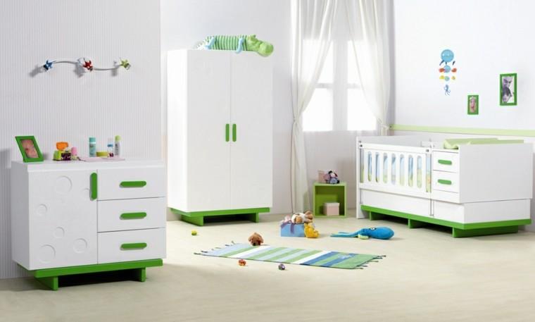 muebles blancos verde dormitorio bebe