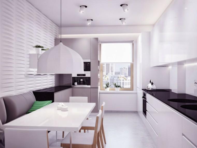muebles cocina blancos modernos lampara
