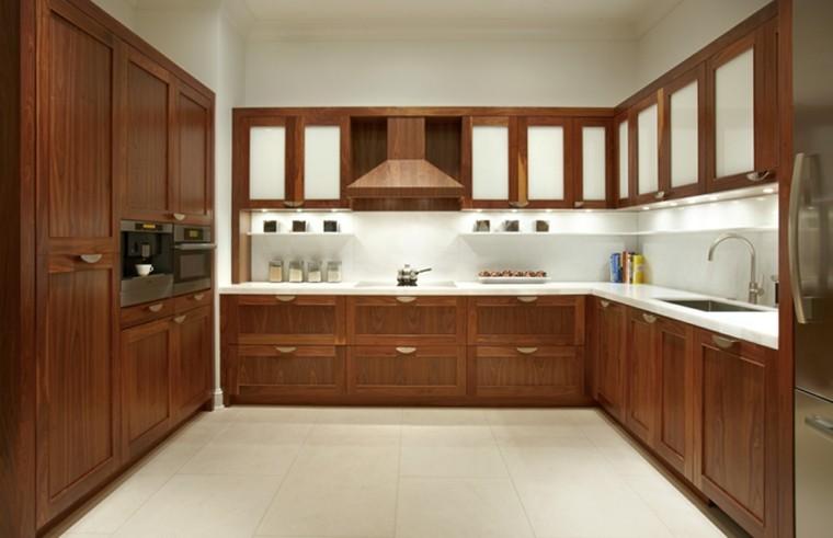 Blanco y madera cincuenta ideas para decorar tu cocina for Muebles cocina madera