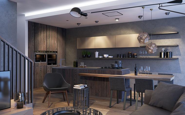 muebles comedor abiero cocina armario suelo techo madera ideas