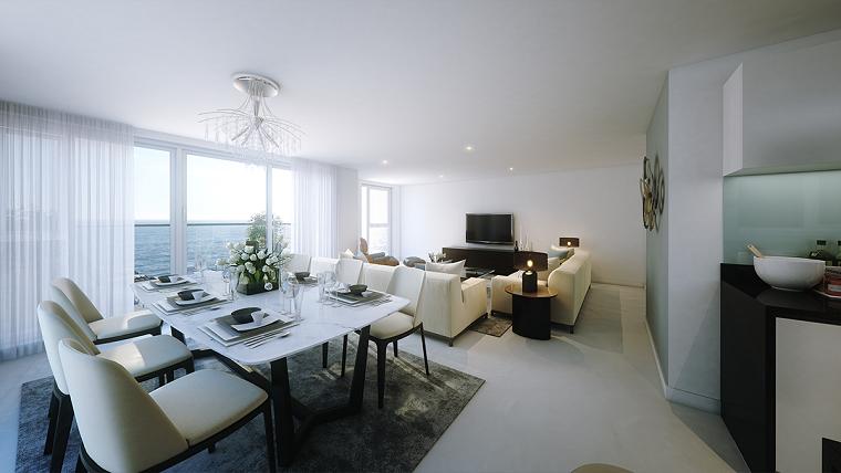 muebles comedor abierto salon color blanco ventanal ideas
