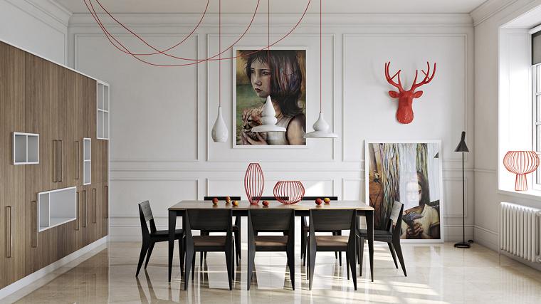 muebles comedor mesa sillas madera marron negro armario ideas