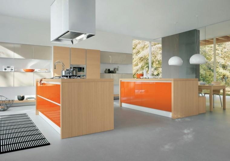 muebles de cocina color naranja