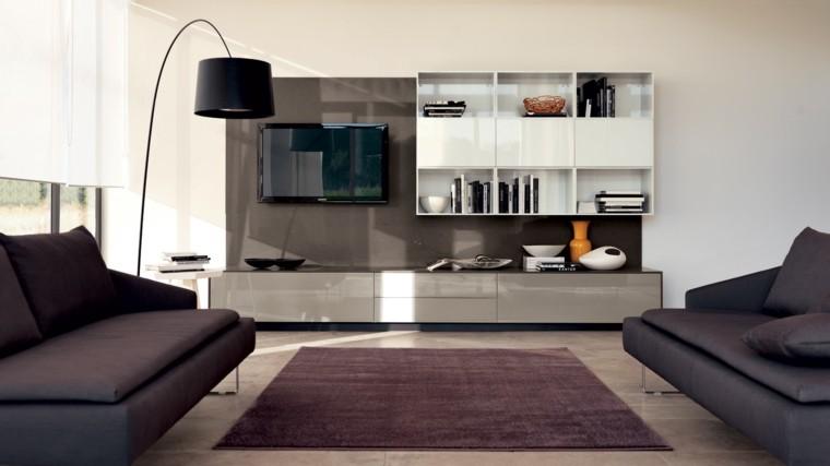muebles de salon modernos color burdeos