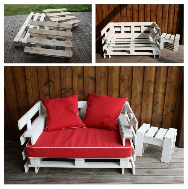 muebles hechos con palets acolchonado blanco rojo