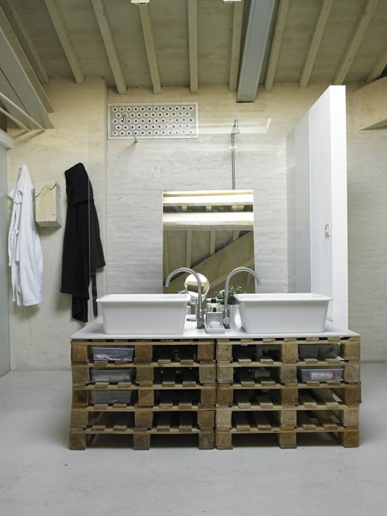 muebles hechos con palets baño creativo lavabo