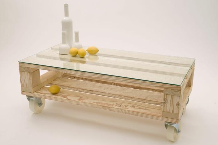 muebles hechos con palets cristal ruedas accesorios - Muebles Palets