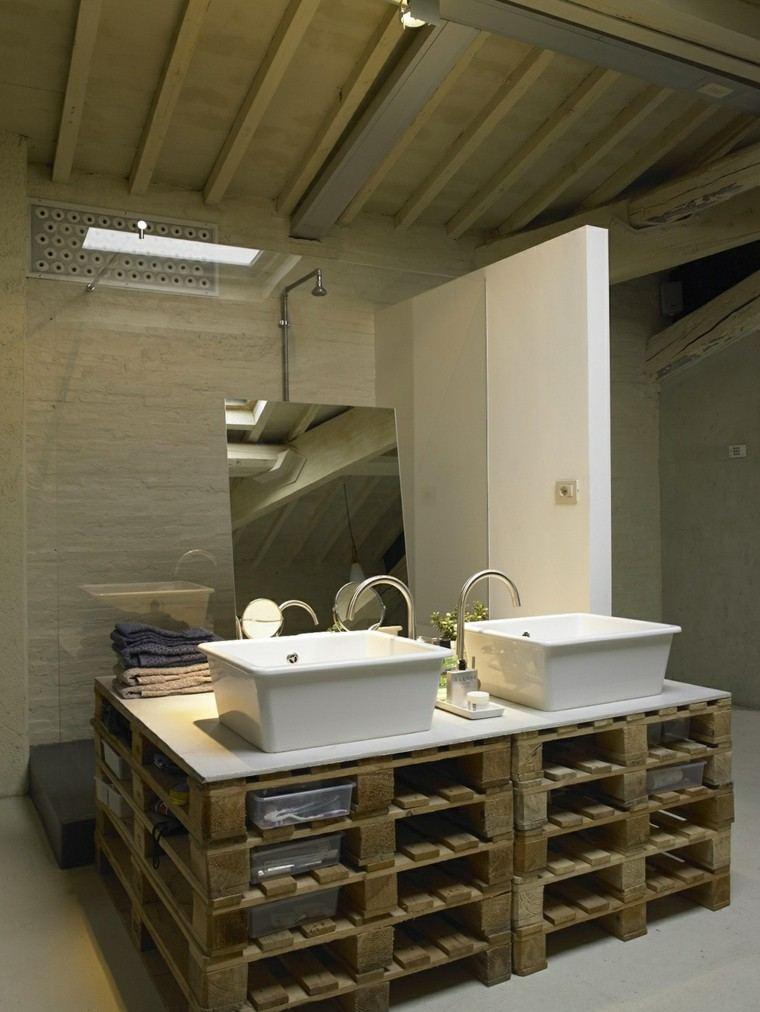 muebles hechos con palets lavabo doble accesorios
