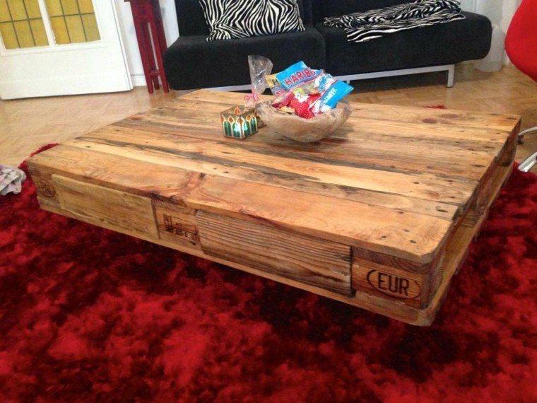 muebles hechos con palets mesa auxiliar alfombra centro