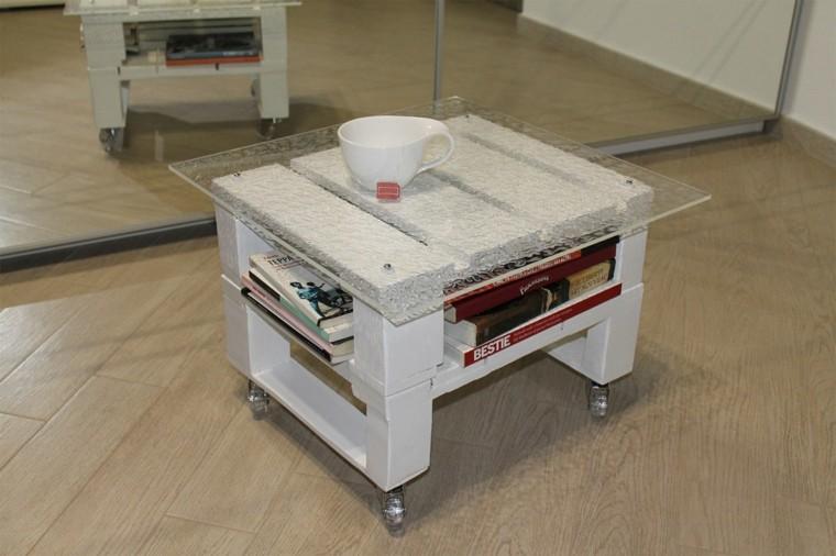 muebles hechos con palets mesa blanca ruedas - Mesa Con Palets