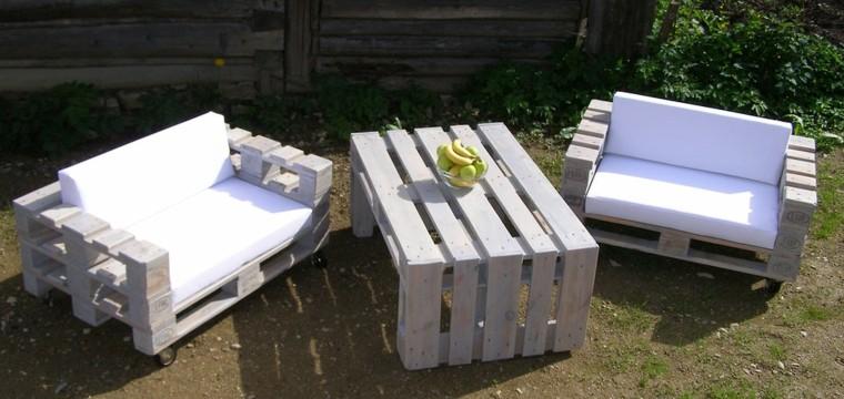 muebles jardin blancos palets madera - Muebles De Jardin Con Palets