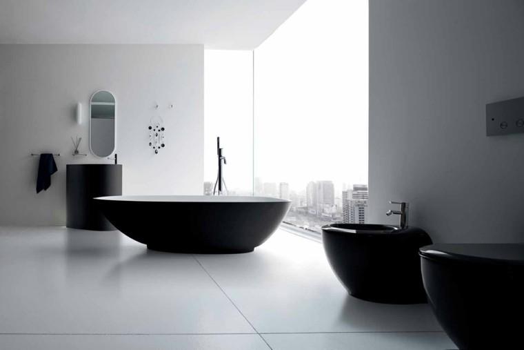 muebles negros redondos moderno baño