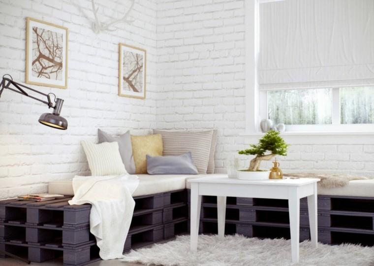 muebles palets blanco alfombra lampara