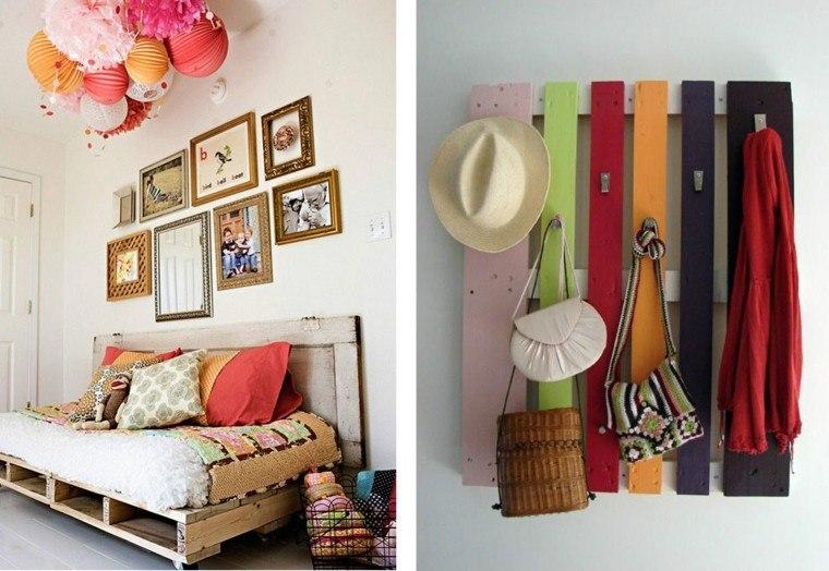 muebles pared palets colgar ropa sofa moderno