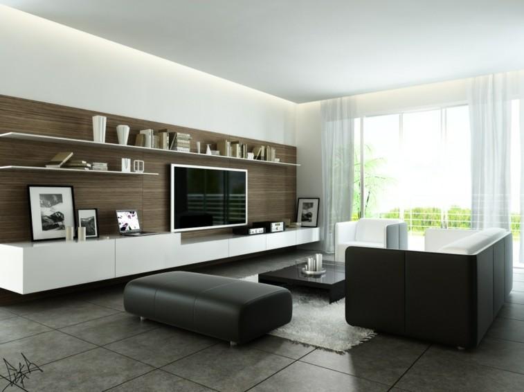 muebles piel bonitos negros salon