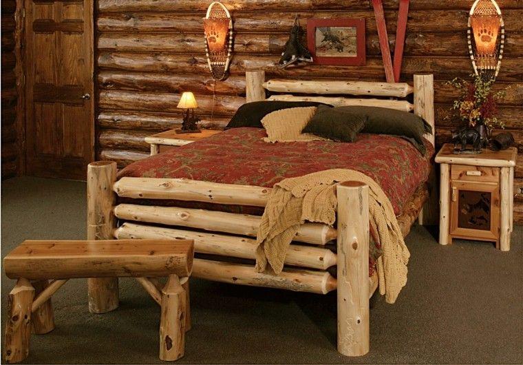 muebles rusticos banco cama lampara habitacion