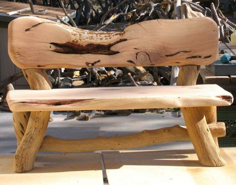 muebles rusticos banco tronco patio lijado