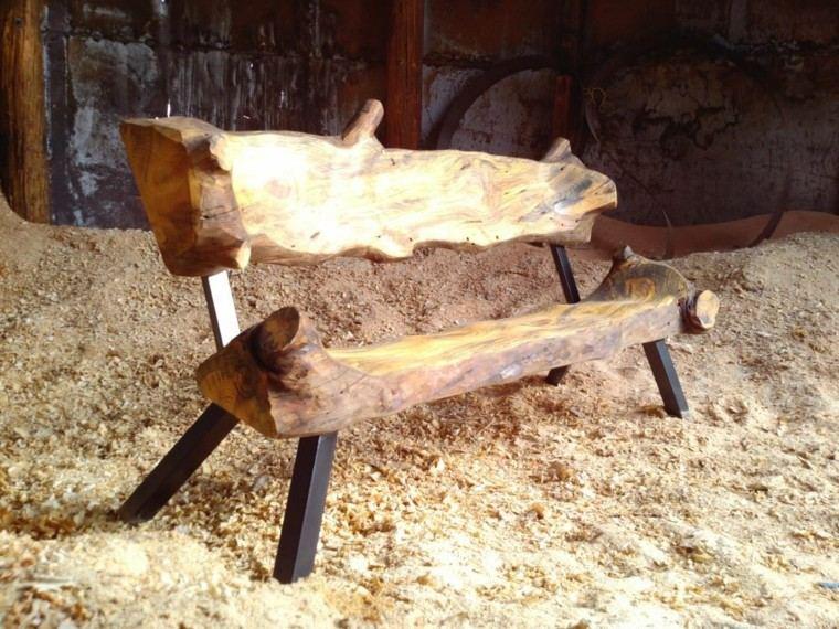 muebles rusticos banco troncos metal