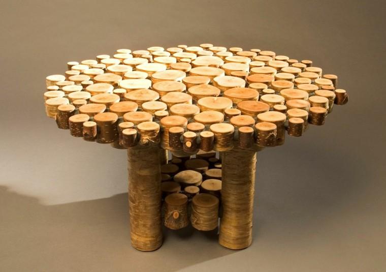 Muebles rusticos aires campestres para todo espacio - Mesas de troncos de madera ...