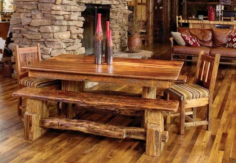 muebles rusticos suelo madera cabaña