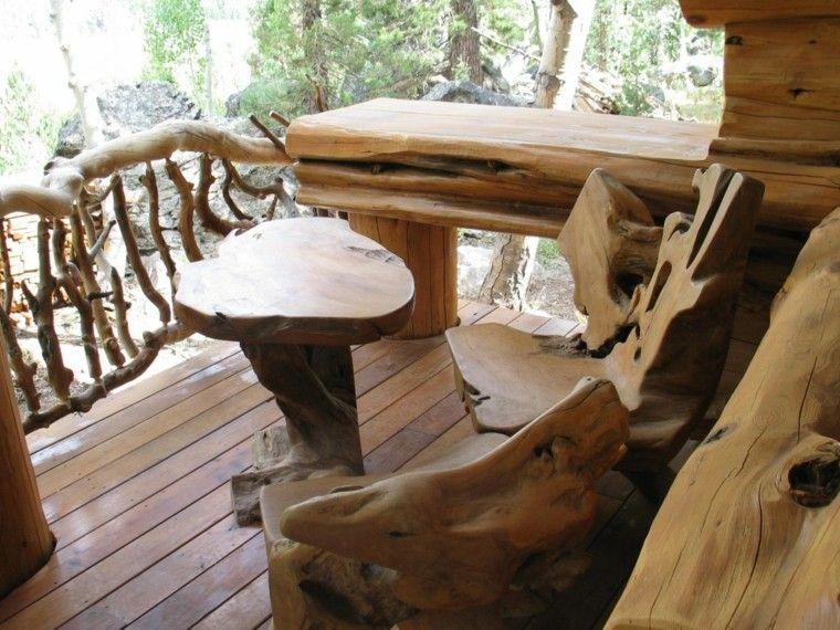 muebles rusticos terraza mesa sillas balcon