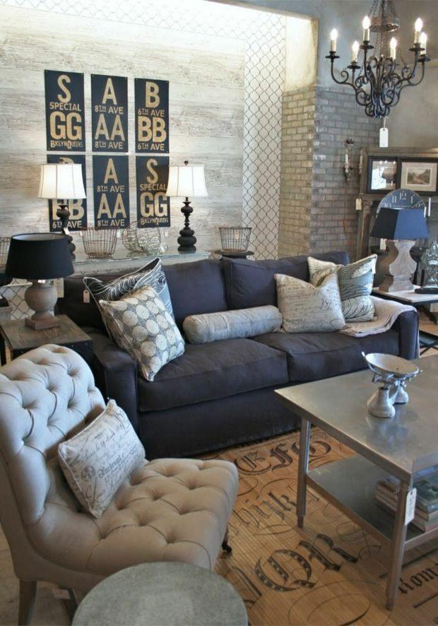 muebles salon azul marino gris