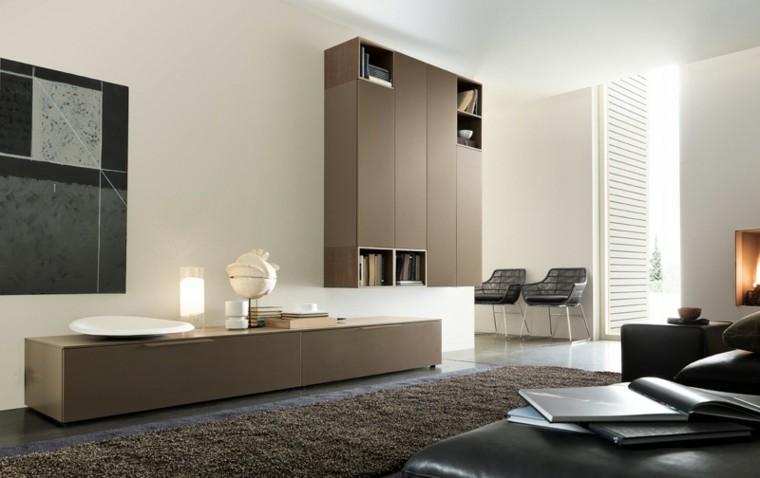 muebles salon color marron laminado