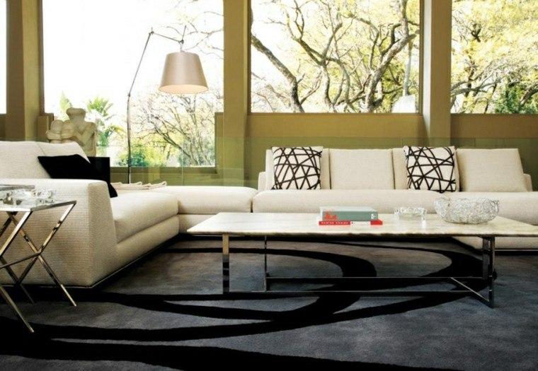 muebles salon moderno mesa encimera marmol ideas