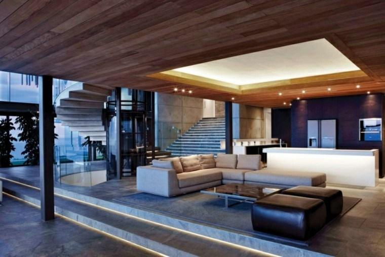 muebles salon moderno sofa grande taburete negro ideas